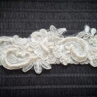 Ivory garter, lace bridal garter, embellished wedding garter