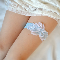 Bridal garter, Something Blue, Wedding Garter, Blue garter, Floral Lace Applique