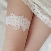 Soft White Wedding Garter, white floral lace bridal garter, gift for the bride