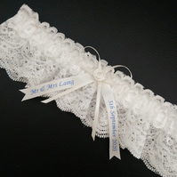 Personalised wedding garter, ivory lace garter, anti slip, choose text colour