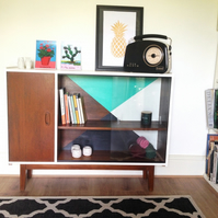 SOLD Mad Men - modern mid 70's wooden cabinet or bookcase with geometric design