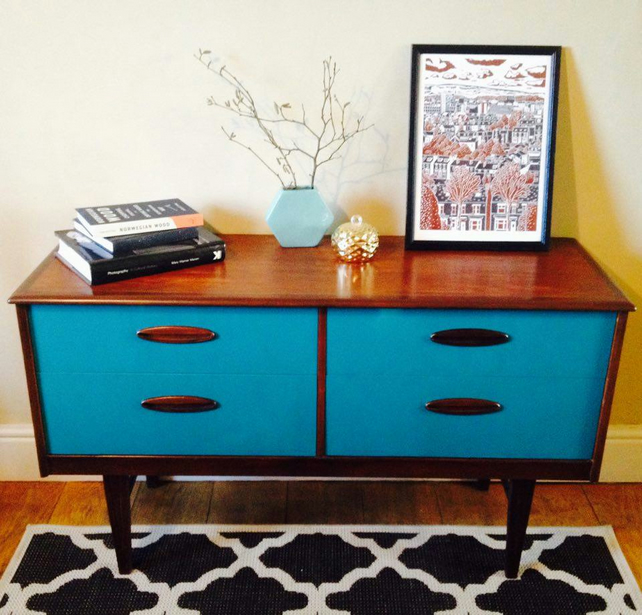 SOLD SOLD SOLD Jazz - mid century sideboard painted and wood stained
