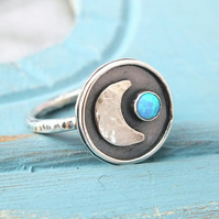 Sterling Silver Crescent Moon Ring, Opal Gemstone Moon Ring