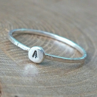 Silver Initial Ring, Tiny Sterling Silver Ring, Silver Stacking Ring