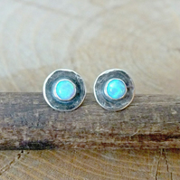 Sterling Silver Opal Stud Earrings, Oxidised Silver Stud Earrings