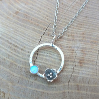 Poppy Flower Necklace, Opal Silver Infinity Circle Necklace