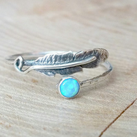 Feather Ring, Opal Gemstone Ring, 925 Boho Ring