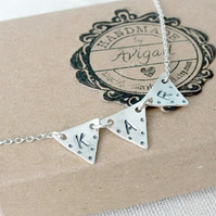 Bunting Necklace, Silver Initial Necklace, Triangle Necklace
