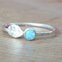 Opal Leaf Ring in Sterling Silver, 925 Opal Ring, Dainty Opal Ring