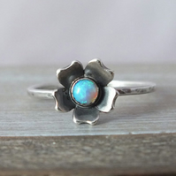 Sterling Silver Opal Flower Ring, Flower Stacking Ring, Delicate Flower Ring