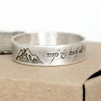 Sterling Silver Personalised Message Ring, Elvish Script Ring