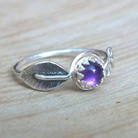 Sterling Silver Amethyst Leaf Ring, Silver Leaf Ring, Natural Silver Leaf Ring