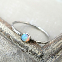 Sterling Silver Opal Stacking Ring, Opal Gemstone Ring, Silver Dainty Ring