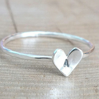 Sterling Silver Heart Ring, SIlver Initial Ring, Custom Silver Heart Ring