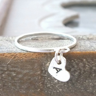 Sterling Silver Charm Ring, Silver Heart Ring, Heart Charm Ring