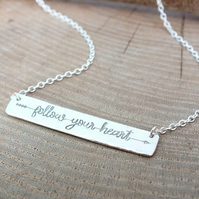 Personalised Bar Necklace, Custom Necklace in Sterling Silver