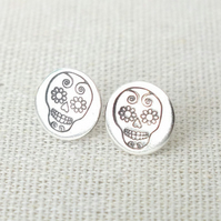 Sugar Skull Studs, Skull Studs, Day Of the Dead Earrings