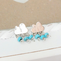 Cloud Stud Earrings, Turquoise Stud Earrings