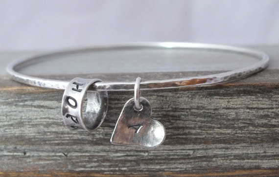 Personalised Bangle, 925 Hammered Bangle with Heart, Sterling Silver Bangle
