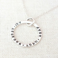 Silver Circle Necklace, Hand Stamped Circle Necklace, Personalised Necklace