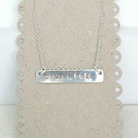 Silver Bar Necklace, Hand Stamped Bar Necklace, Personalised Necklace