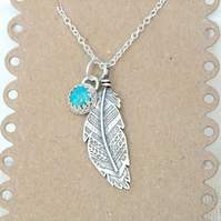 Feather Necklace, Boho Silver Feather Necklace, Turquoise Feather Pendant
