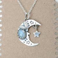 Silver Moon Necklace, Silver Moonstone Necklace, Crescent Moon Necklace
