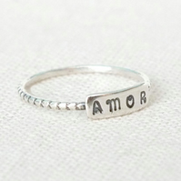 Personalised Silver Ring, Custom Silver Name Ring, Custom Date Ring