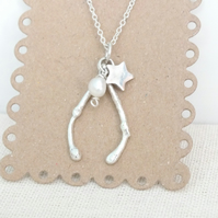 Wishbone Necklace, 925 Pearl Necklace, Lucky Charm Necklace