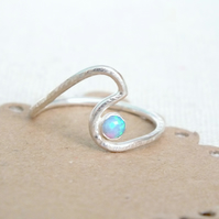 Sterling Silver Wave Ring, Opal Silver Wave Ring, Silver Opal Stacking Ring