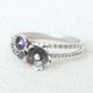 Sterling Silver Flower Ring, Silver Cherry Blossom Ring, Amethyst Silver Ring