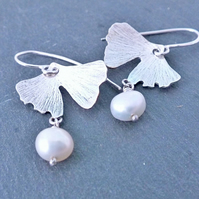 Ginkgo Leaf Earrings, Silver Leaf Earrings, Pearl Earrings