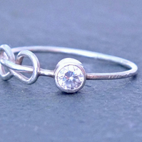 Silver Infinity Ring, CZ Infinity Ring, Thin Silver Ring