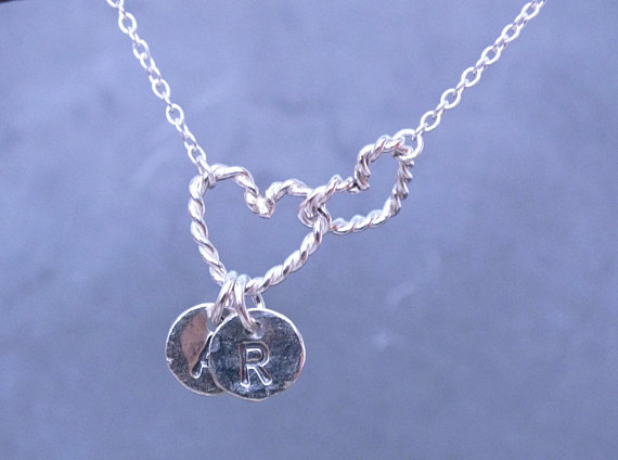 Entwined Heart Necklace, Silver Linked Heart Necklace