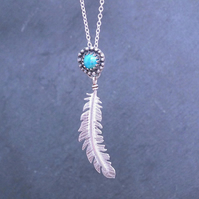 Sterling Silver Feather Necklace, Turquoise Feather Pendant, Boho Necklace