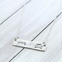 Sterling Silver Personalised Bar Necklace, Initial Necklace