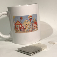 Beach Huts Mug - Paper Art Design