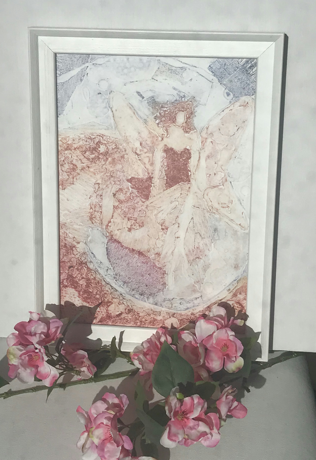 Winged Woman, Angel, Fairy - Original Artwork - Framed. Unique