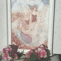 Winged Woman Collograph - Unique Original Artwork - Framed.
