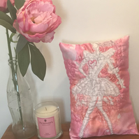 Pink Lady Hand-Sewn Satin Cushion - One off Unique Item.
