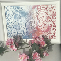 Shared Inspiration Romantic Original Artwork - Framed