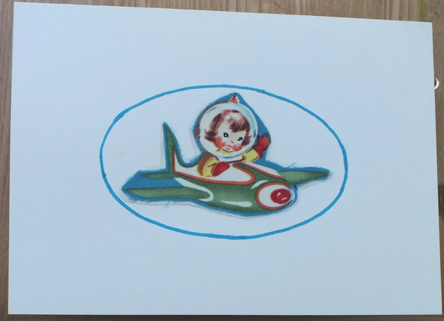Rocket girl greetings card - upcycled vintage material