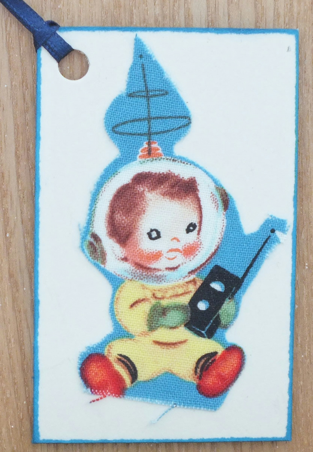 Little rocket boy - gift tag made using original vintage 1950's material