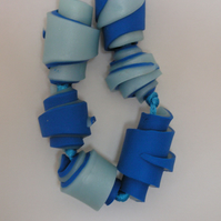 Twotone blue coiled bead necklace