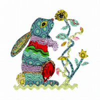 A4 Mixed Media Textile Bunny Wallart Made to Order