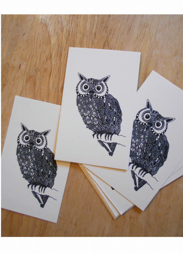 Owl Customer Thank You Cards 'Pop Art', Pack of 8