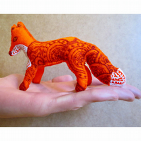 Handmade and handembroidered orange and brown fox ornament, Ready to Post