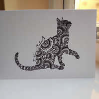Cat Lovers Square Blank Greeting Card and Pack of 4 Cards
