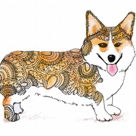 A4 Corgi Digital Print Handdrawn, Special Offer