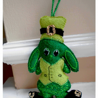 St Patrick's Day Bunny Hanging Decoration and Car Accessory Made to Order